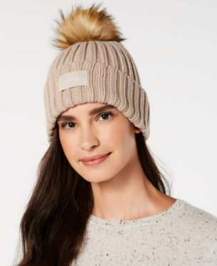 42414500e12 Calvin Klein Pop-Color Pom Pom Knit Beanie - Red in 2019