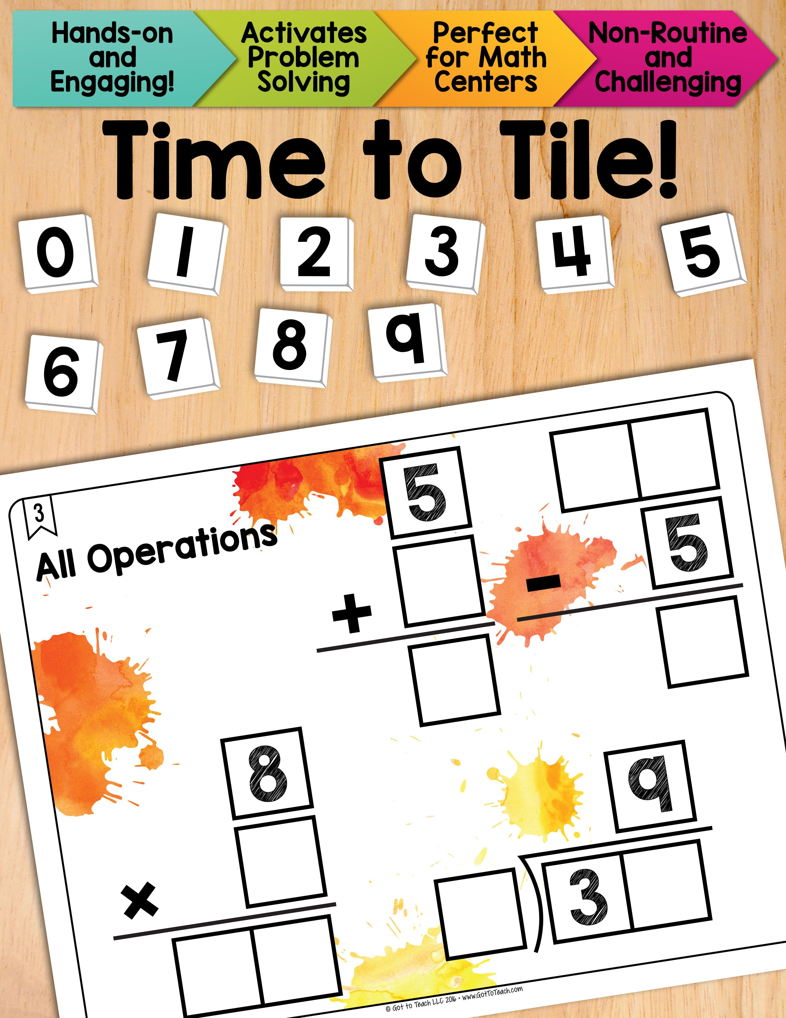 Worksheet Rote Math math tiles all operations add subtract multiply divide and get your students thinking beyond