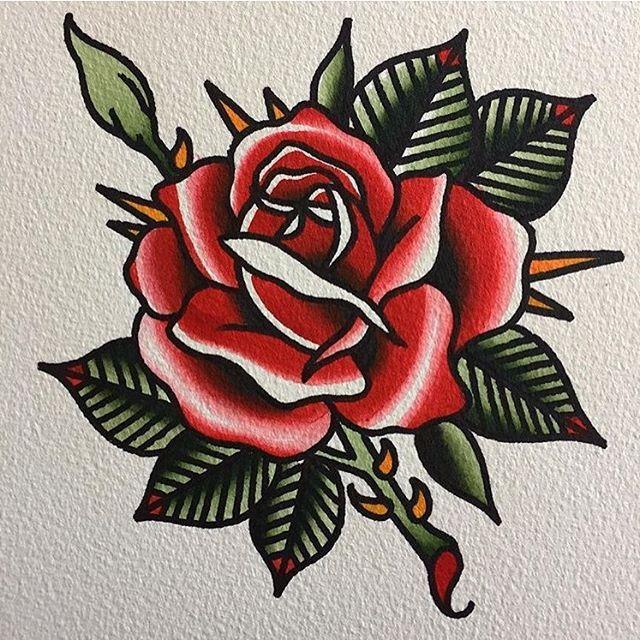 Flash By Matt Miller Tattoo Trflash Traditional Flash Tattoo Tattooflash Traditional Trad Traditional Tattoo Flowers Traditional Rose Tattoos Old School Rose