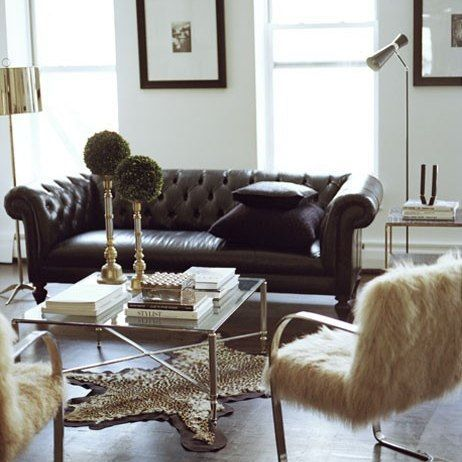Nyc Apartment Ryan Korban Design Interesting Tufted Leather Chesterfield Sofa Fur Chair Mcm Coffee And Side Tables