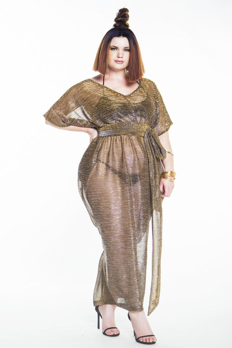 0f237f7ae0d V Neck Metallic Accordian Sheer Slouch Poolside Maxi Dress   Young ...