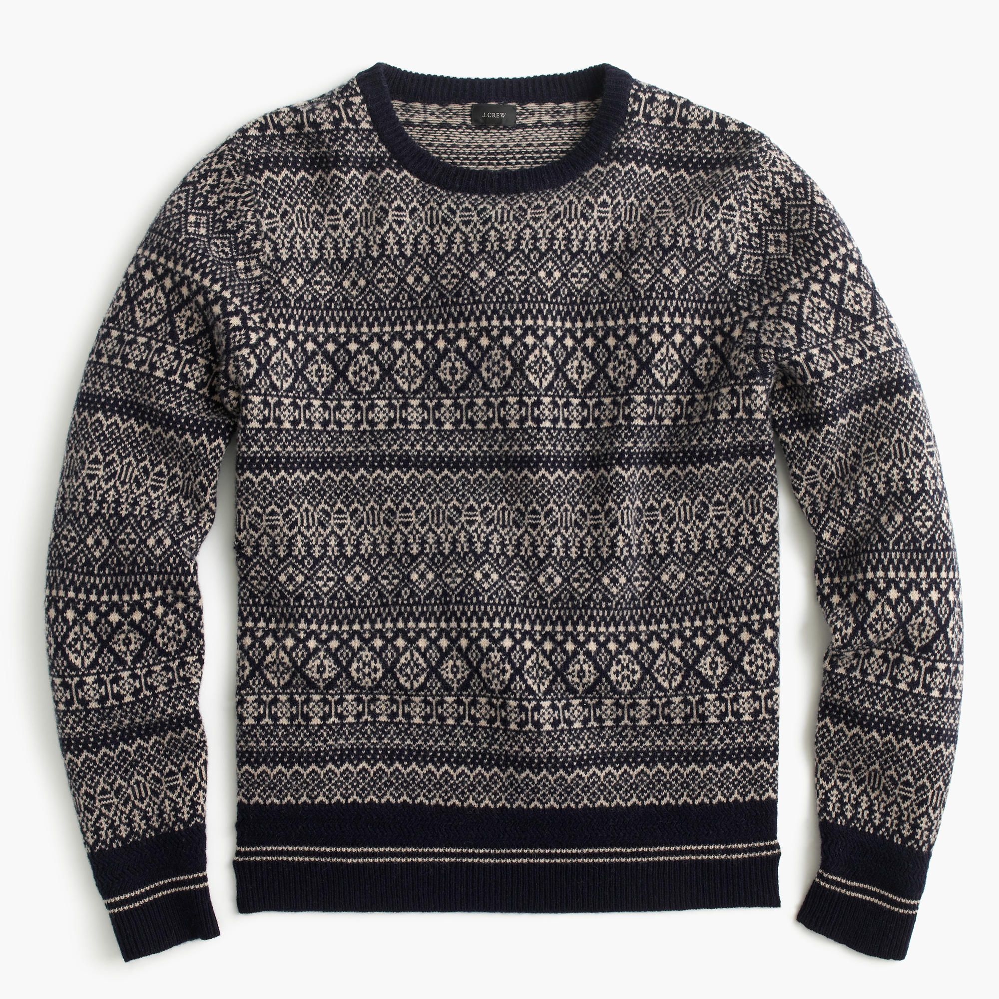 9c3bb02ad14a J.Crew - Lambswool mixed Fair Isle crewneck sweater | Men's Fashion ...