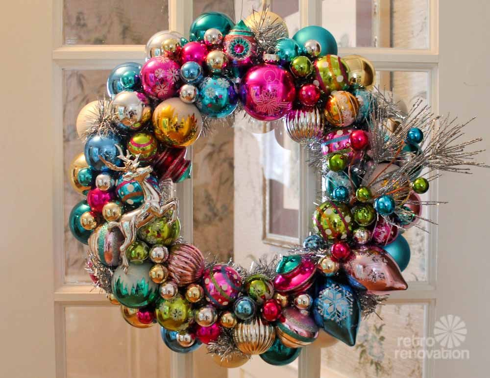 ornament wreaths made from new christmas ornaments i shop target big lots michaels and k mart and make two wreaths retro renovation