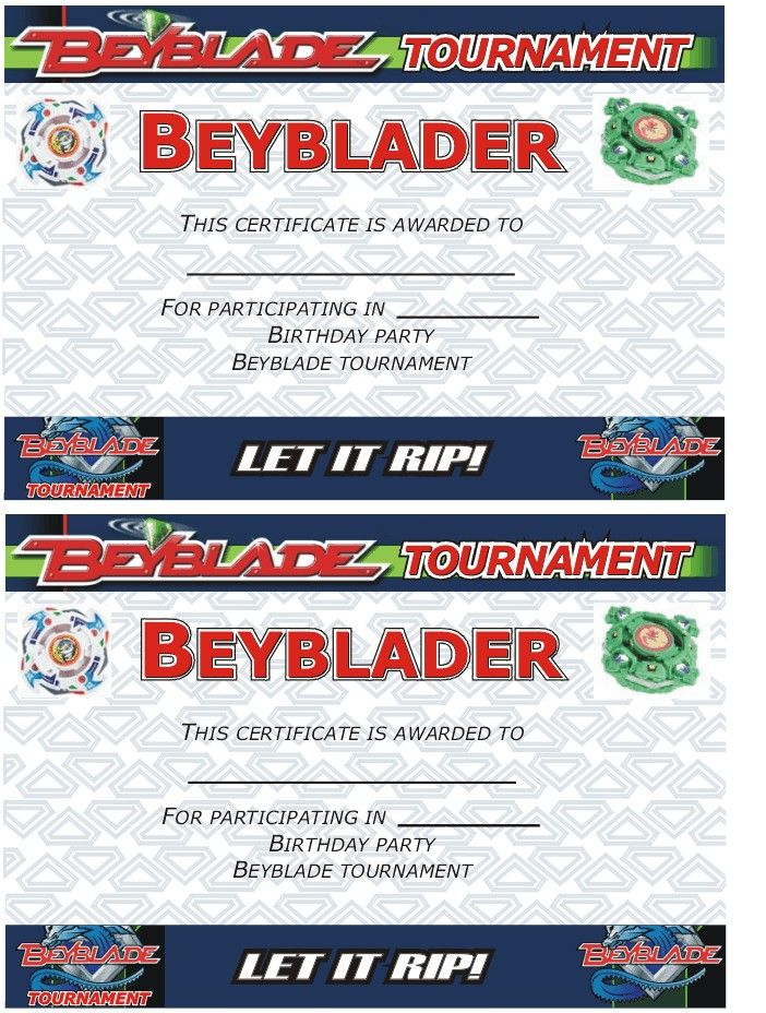 beyblade tournament certificate  participant