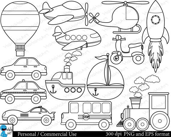 Outline All Transportation Set Clipart Digital Clip Art Etsy Digital Clip Art Graphics Clip Art Scrapbook Patterns