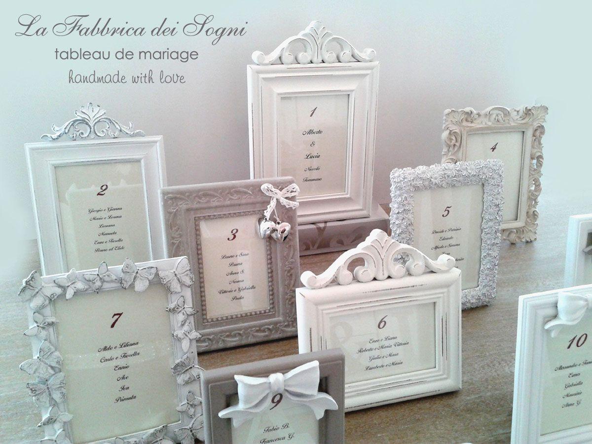 Tableau de mariage con portafoto in stile shabby chic for Cornici per quadri shabby chic