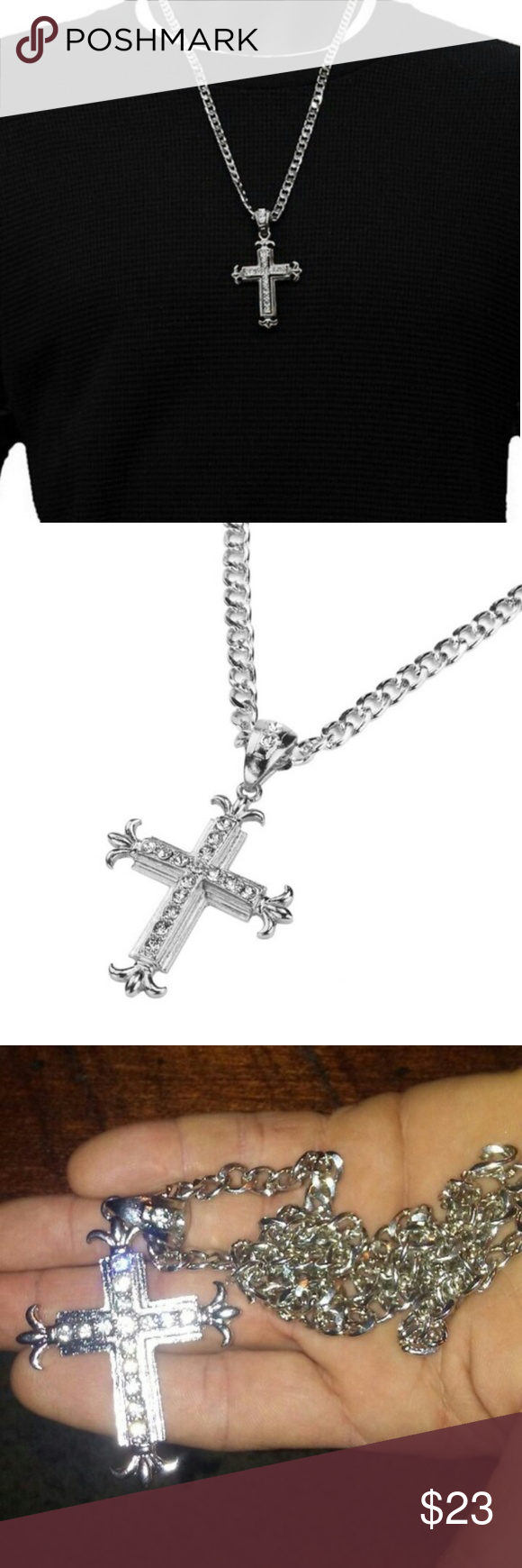 Mens silver iced out cross pendant chain boutique hip hip chains