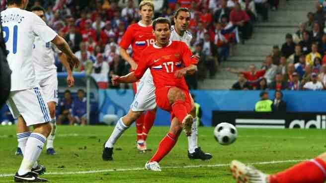 Russia 1 Greece 0 in 2008 in Salzburg. Konstantin Zyryanov scores after 33 minutes in Group D at Euro 2008. 1-0 Russia.
