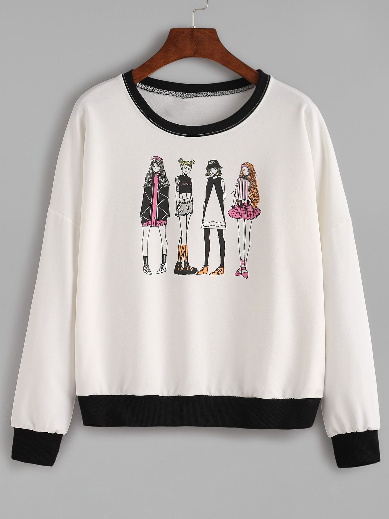9045ed1d31 Shop Contrast Trim Girls Print Sweatshirt online. SheIn offers Contrast  Trim Girls Print Sweatshirt & more to fit your fashionable needs.