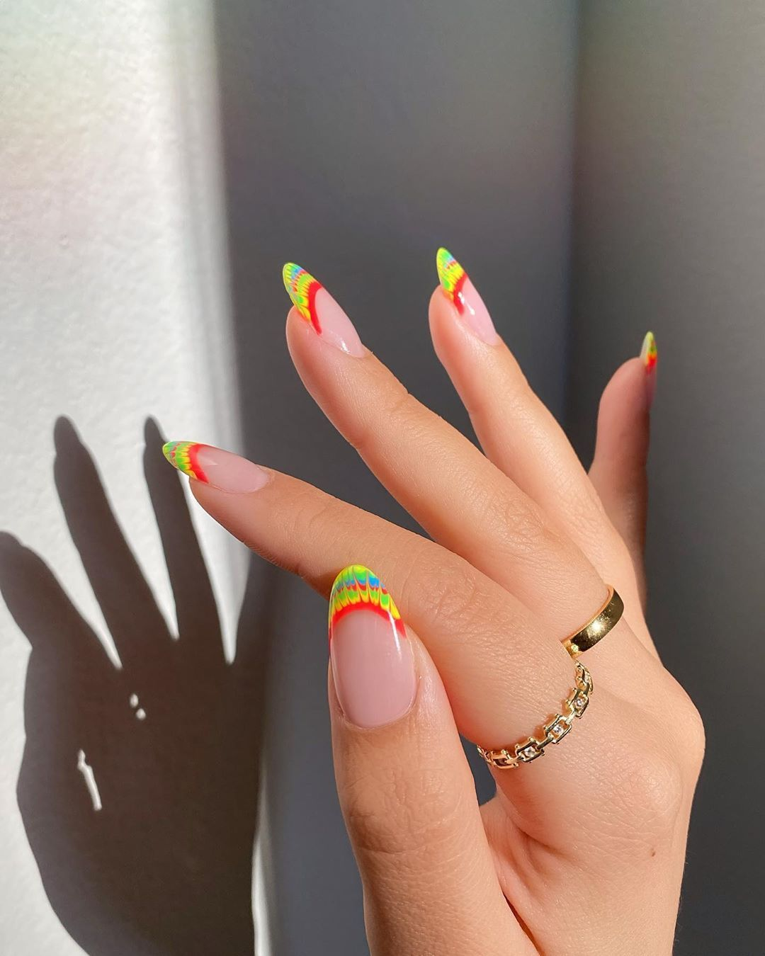 10 Gloriously Bright Nail Art Ideas To Inspire Your Pride Manicure In 2020 Tie Dye Nails Minimalist Nails Les Nails