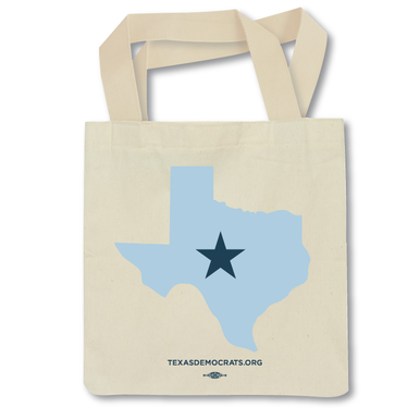 """""""Texas Democrats Star Logo"""" Tote Bag -- 10"""" x 6"""" two-color screen print on white canvas, 65/35 Poly/Cotton American Made tote bag (12.5"""" width x 13.5"""" height)"""