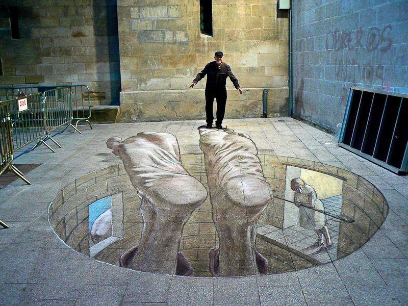 (976) Twitter 3d street art, Artisti di strada, Arte con