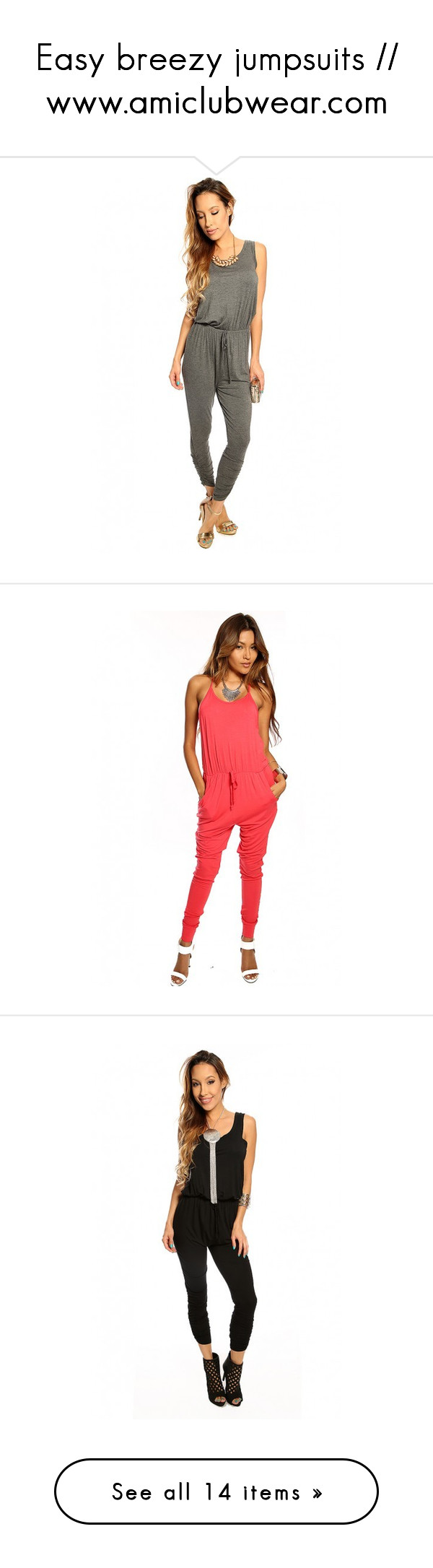 """Easy breezy jumpsuits // www.amiclubwear.com"" by amiclubwear ❤ liked on Polyvore featuring tops, shirred top, scoop neck top, white scoop neck top, retro crop top, white top, jumpsuits, jump suit, white jumpsuit and coral jumpsuit"