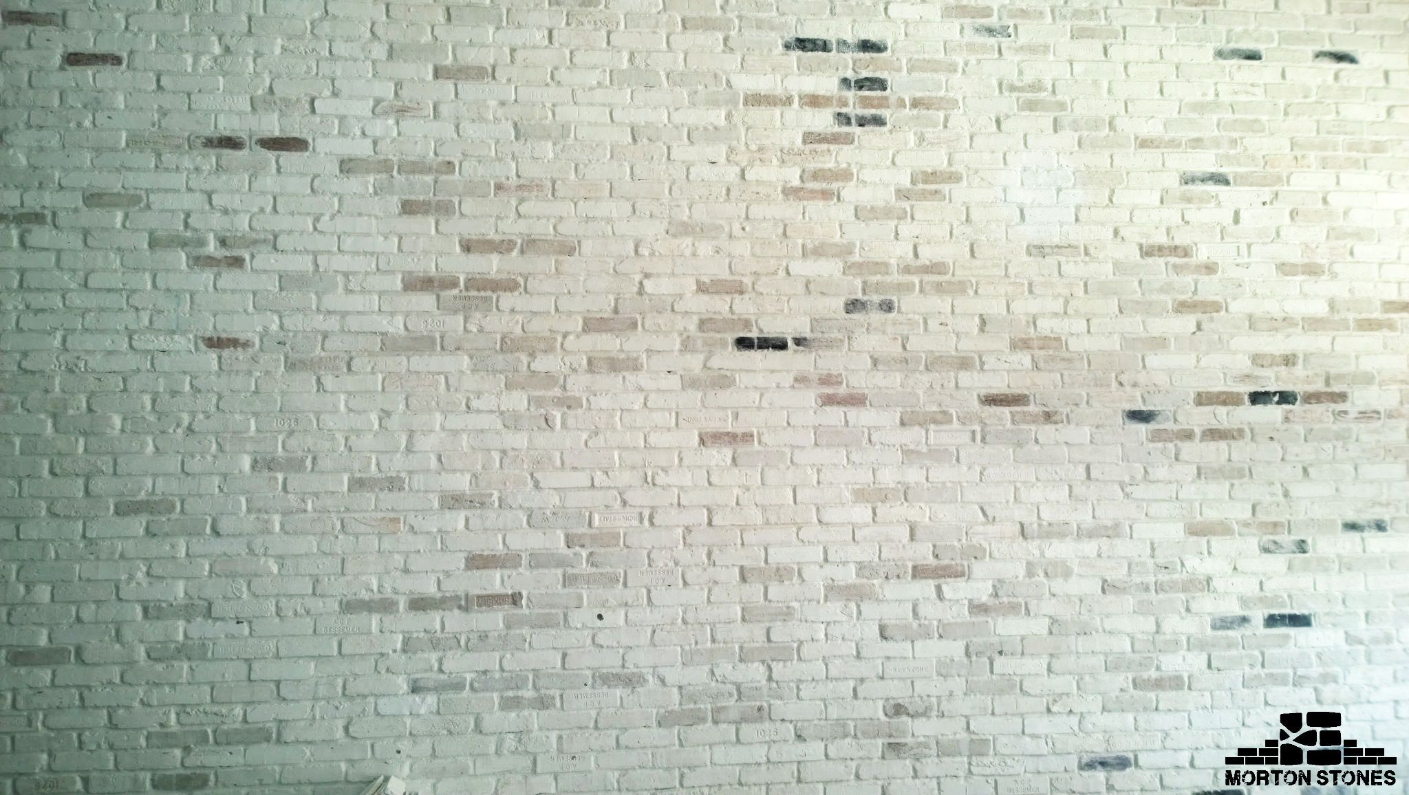 An Exposed Whitewashed Exposed Brick Wall Project Mortonstones Brick Tiles Rustic Thinbrick Home Decor Br Brick Veneer Brick Decor Thin Brick Veneer