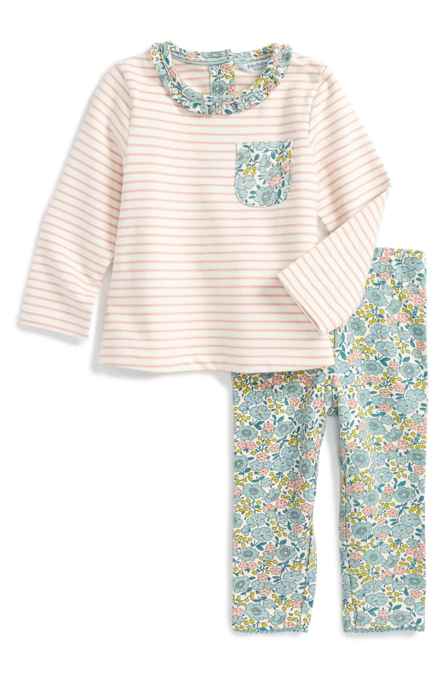 Main Image - Mini Boden Jersey Play Shirt & Leggings Set (Baby Girls & Toddler Girls)