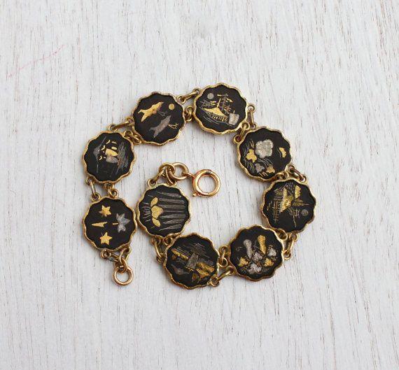 Vintage Damascene Asian Panel Bracelet - Mid Century Gold & Silver Inlay on Black Tile Japanese Jewelry / Linked Bracelet