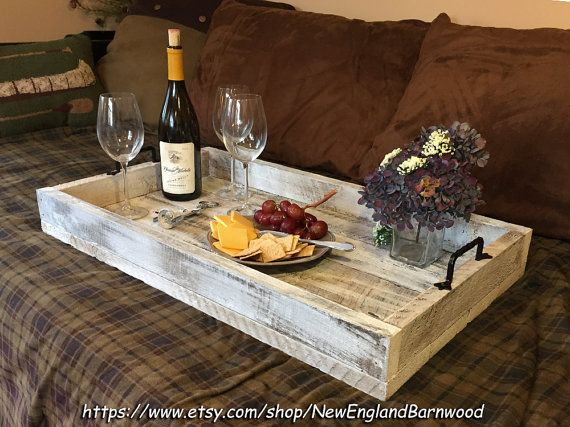 Rustic Farmhouse Serving Tray With Handles, Wooden Ottoman