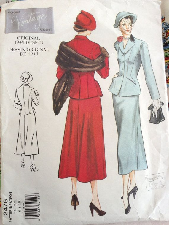 Vogue Vintage Model 2476, circa 1949 Sewing Pattern size 6-8-10 ...