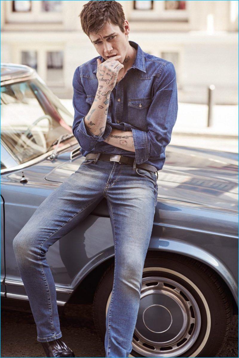 81724bfc049f04 Cole Mohr models double denim for Koton Jeans  spring-summer 2016 campaign.  Denim