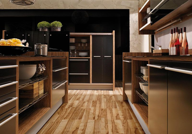 stunning: glossy lacquer with natural wood kitchen design - vitrea