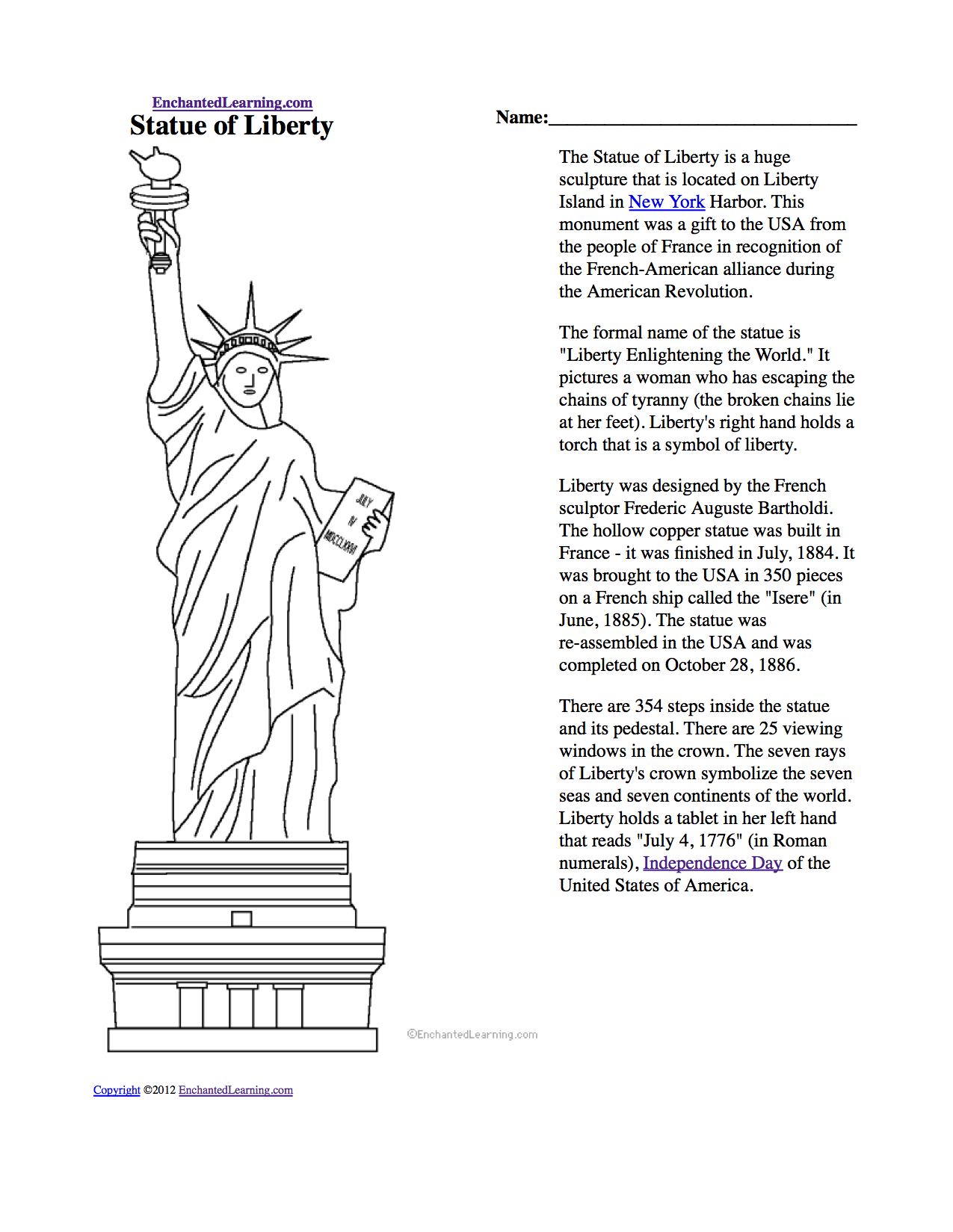 Informational Reading About The Statue Of Liberty For