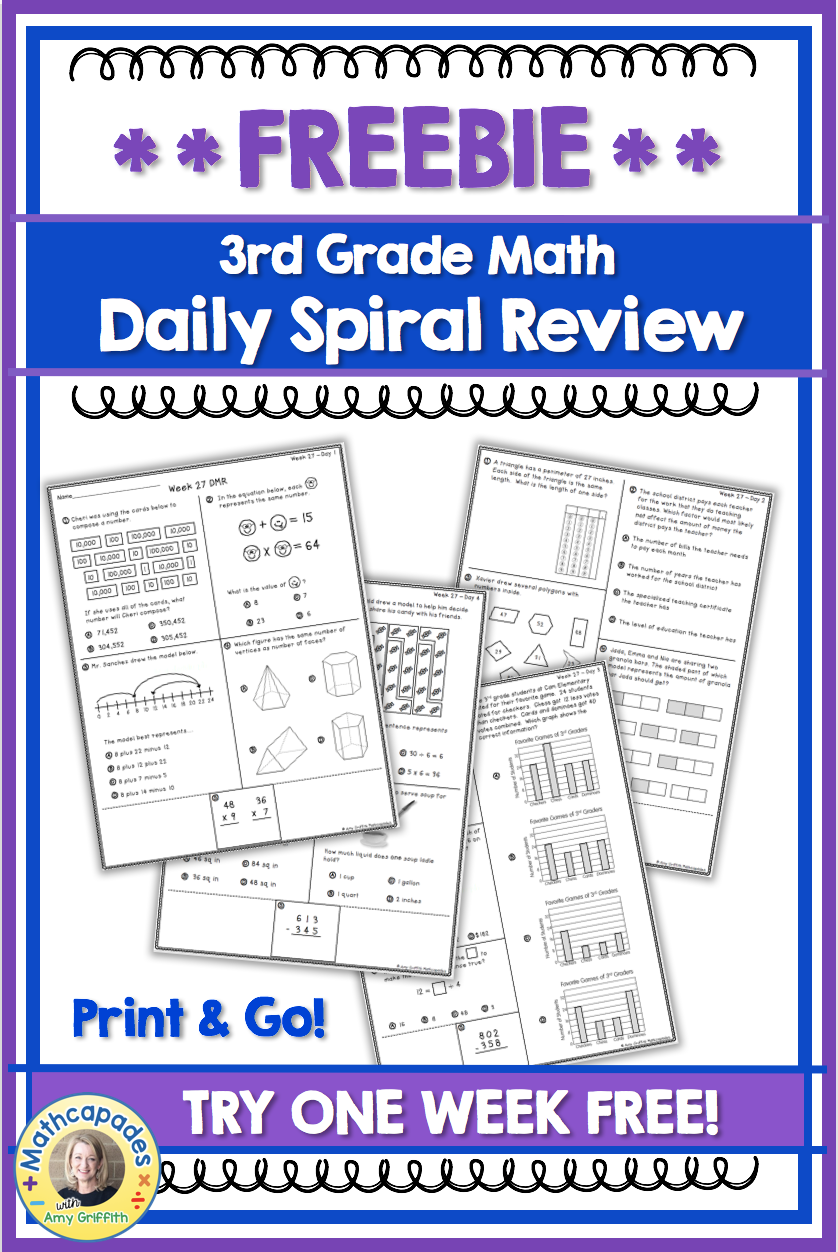 Spiral Review Math Freebie 2 | TpT FREE LESSONS | Spiral