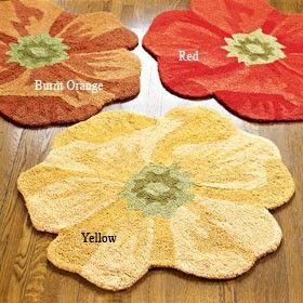 Poppy Flower Bath Rug Poppies Rugs Fabric Rug Round