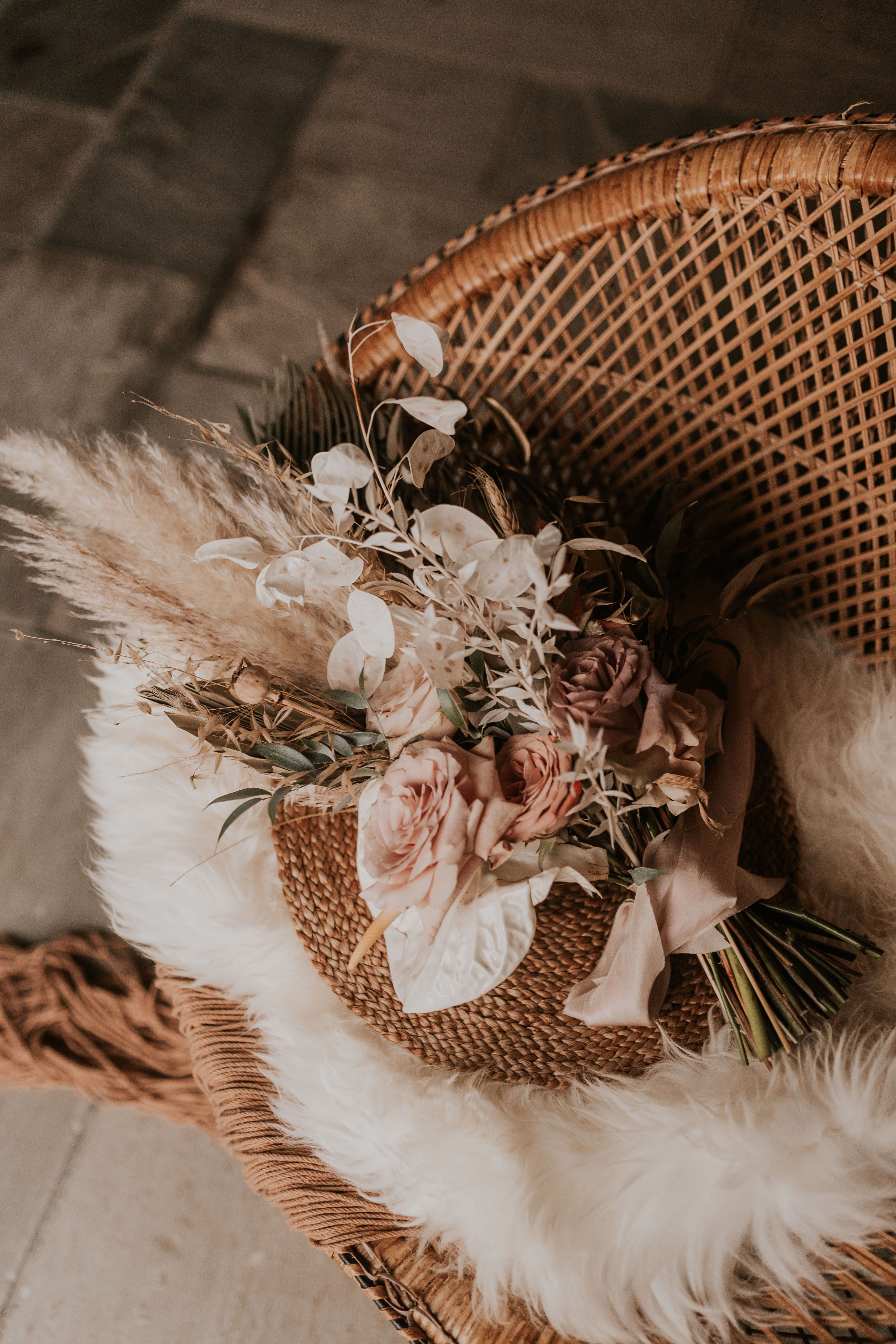 Beach Boho Elopement Wedding Bride With Lace And Sequin Dress Dried Flowers And Pampas Grass Bouquet Raf Boho Wedding Pampas Grass Bouquet Wedding Inside