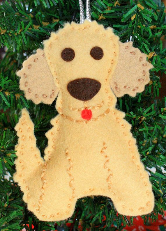 this is a handmade wool blend felt hanging christmas ornament this ornament is inspired by our goldendoodle buddy this is a made to order
