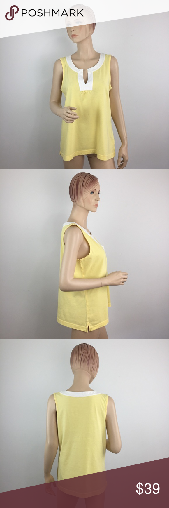 80de9fb227004f Lilly Pulitzer Starfruit Yellow Bidi Tank Medium • New without tags. •  Yellow With White Contrast Trim • Sleeveless • Split Neck • Style  77963  Lilly ...