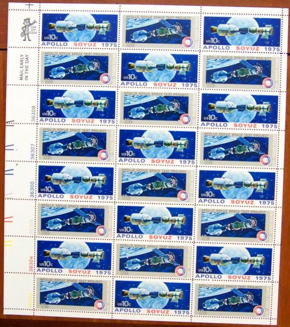 Scott #1569-1570 Apollo Soyuz Space Project Sheet of 24, 1975. Space artwork by Robert McCall. $6.50