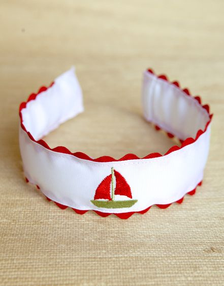 gros grain headband with red ric rac and embroidered sailboat www.kaycehughes.com