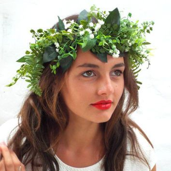 Green leaf crown, Lana del Rey,Baby's breath headpiece, White wedding wreath, Bridal headband #leafcrown Green leaf crown, Lana del Rey,Baby's breath headpiece, White wedding wreath, Bridal headband #leafcrown