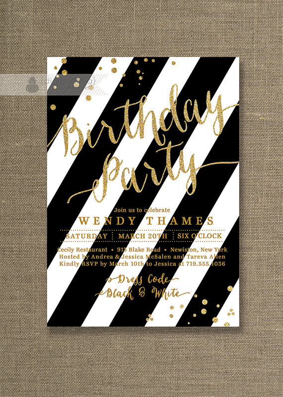 Gold glitter birthday party invitation with classic bold black gold glitter birthday party invitation with classic bold black white stripes and gold glitter confetti details available at digibuddha stopboris Choice Image