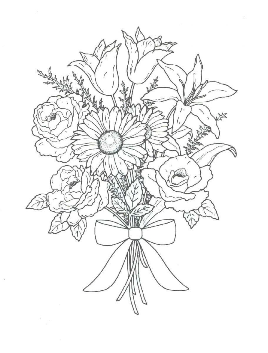 Coloring Pages Of Flowers Coloring Pages Flowers Beautiful Images For Children S Flower Coloring Pages Coloring Pages Flower Bouquet Drawing