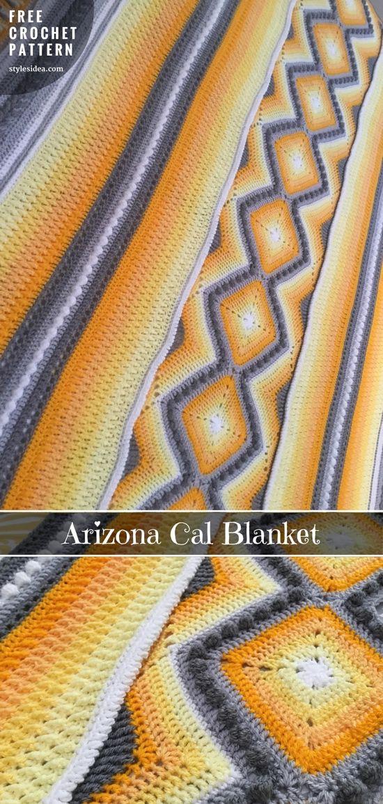 Arizona Cal Blanket Free Crochet Pattern | Pinterest | Patrones de ...