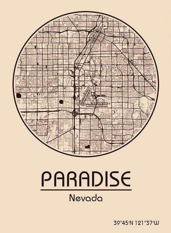 Karte Map Paradise Nevada Vereinigte Staaten Von Amerika