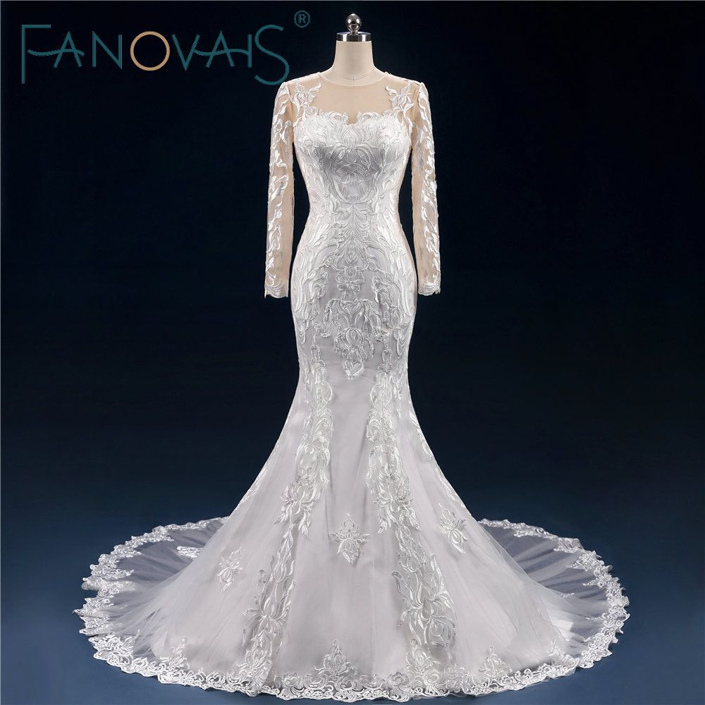 Vintage full lace wedding dress long sleevs mermaid bridal gowns