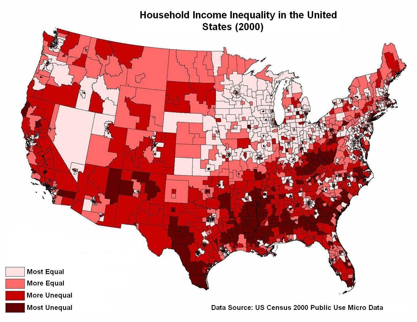 Picture Of Inequality In America Stats And Demographics - Income map of us
