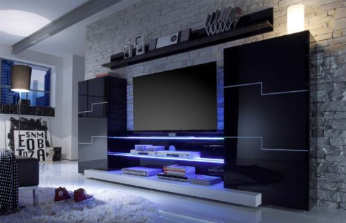 Moderne Wohnwand Anbauwand Schrankwand Twin Schwarz Hochglanz