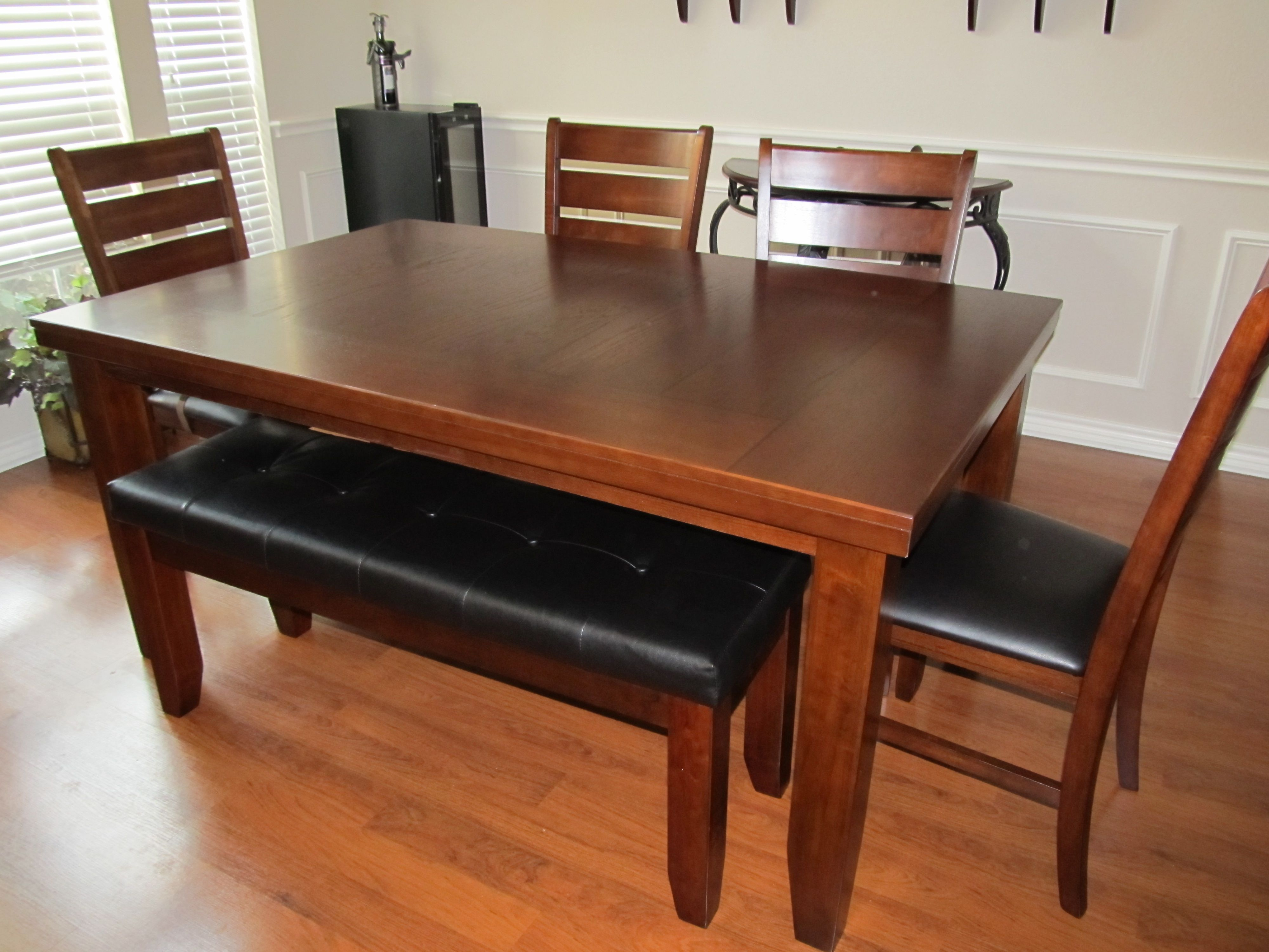 dining table with bench seats elegant rustic brown polished room ...
