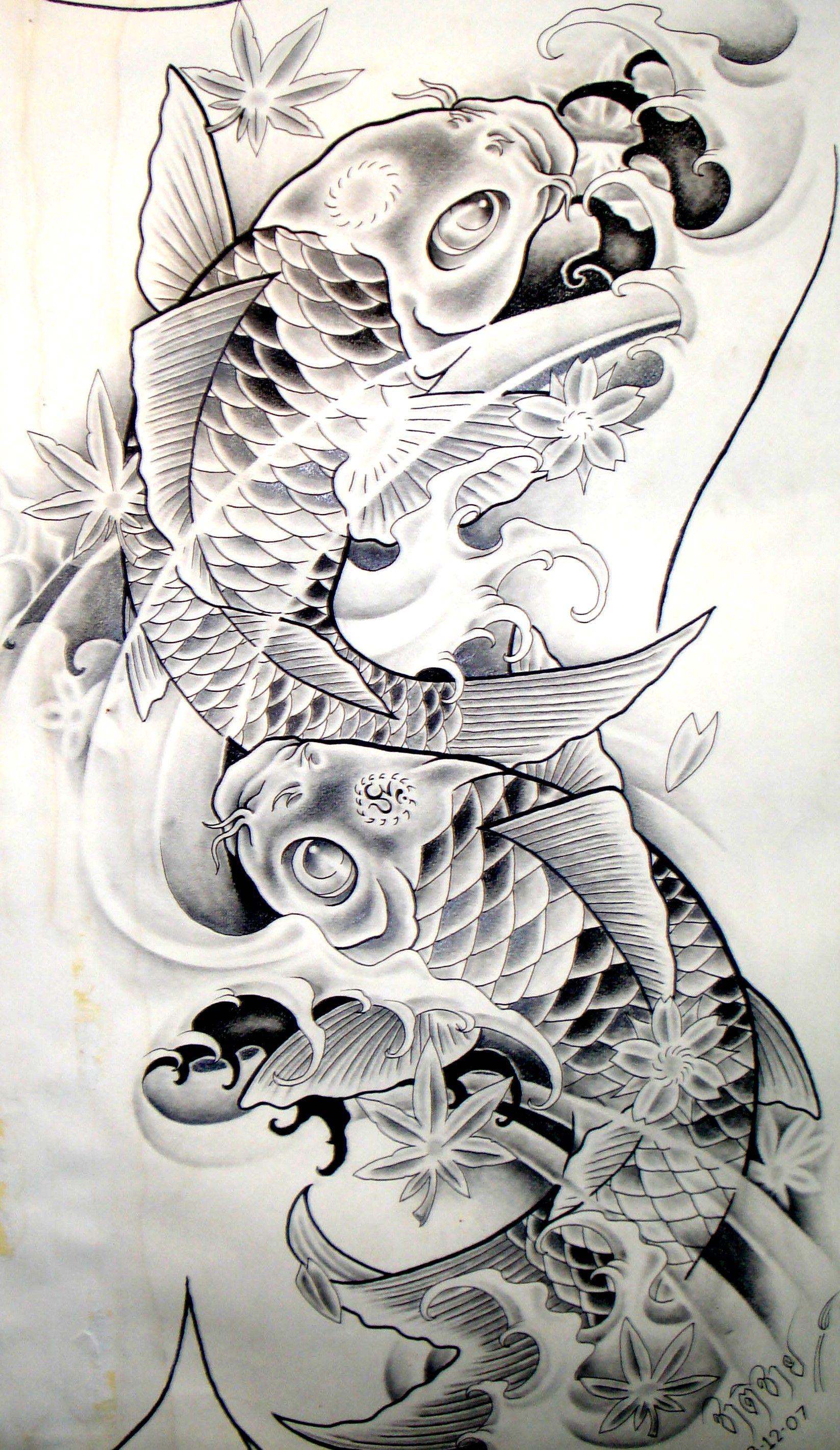 koi_carp_sketch | Tatuajes, Koi y Pez koi