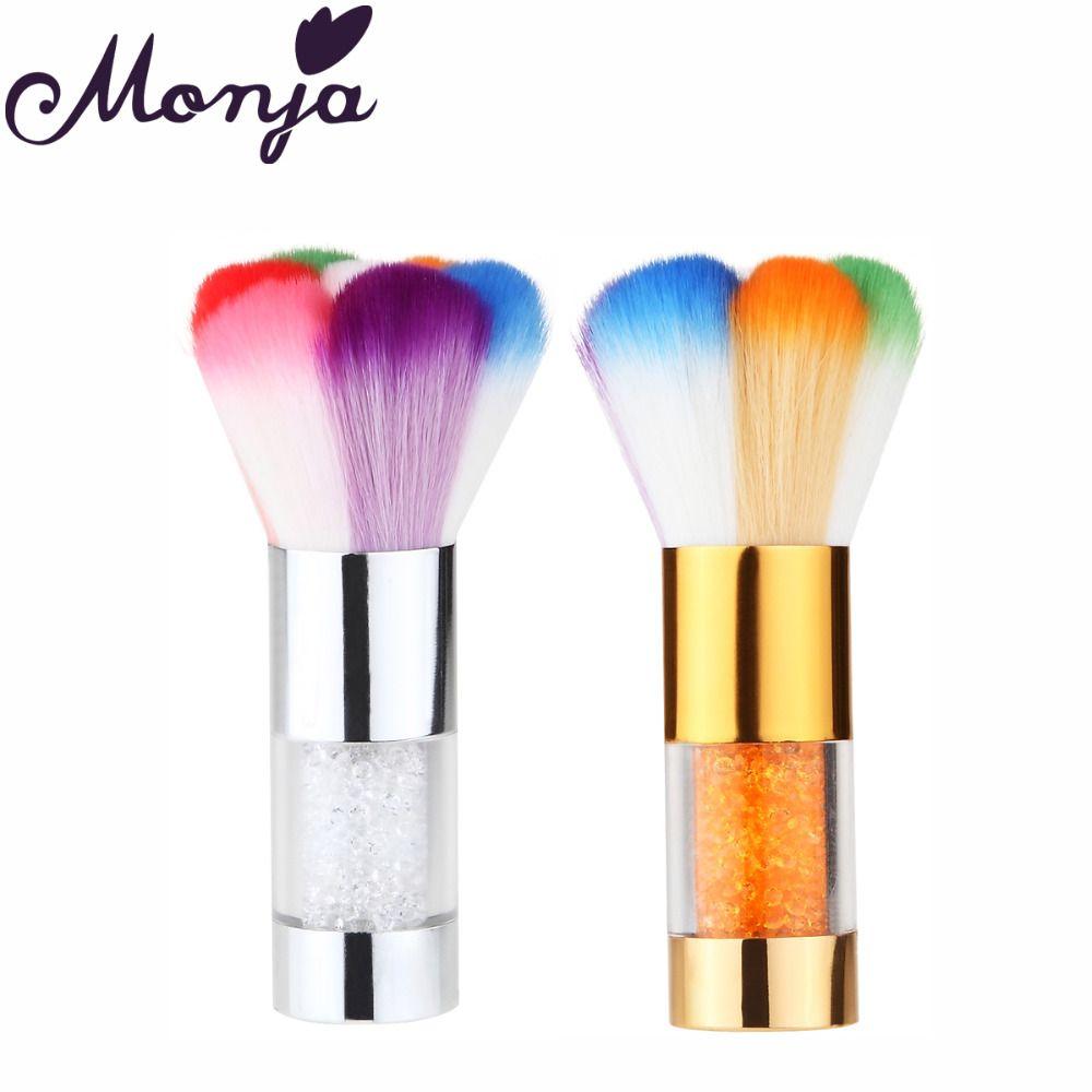 1pcs Nail Art Dust Remove Cleaning Brush Colorful Fiber Hair Uv Gel