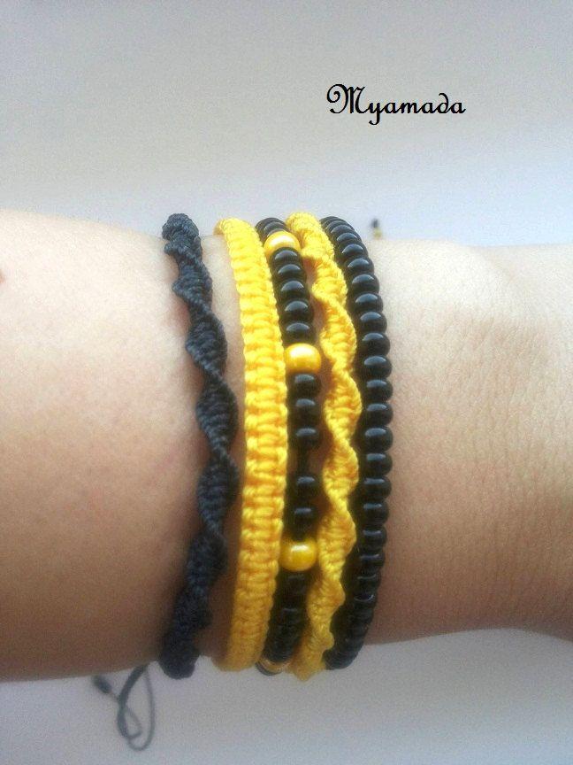 5  micromacrame bracelet  YELLOW black / free shipping (14.00 USD) by Myamadasv