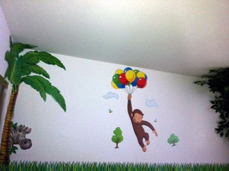 Misty\'s jungle themed toddler bedroom with Curious George wall ...