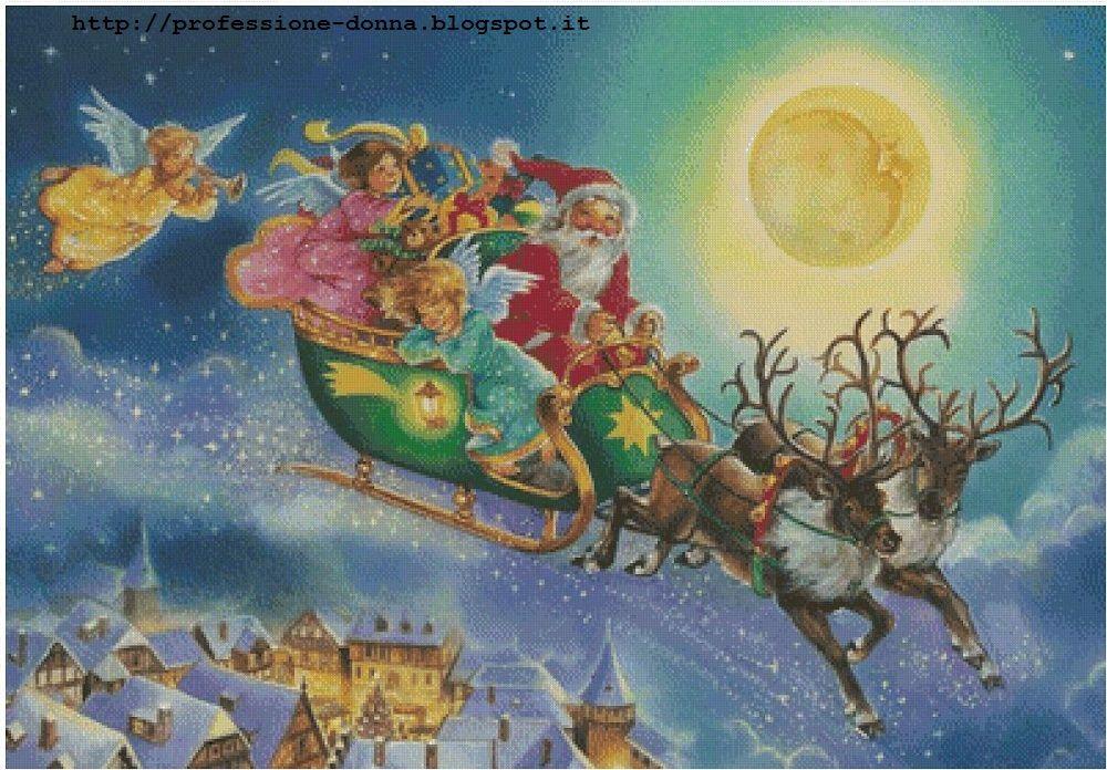 Immagini Di Babbo Natale Con La Slitta E Le Renne.Schema Per Il Punto Croce Con Babbo Natale Sulla Slitta E Le