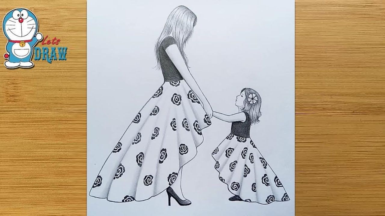 Mother's Day Drawing with Pencil sketch for beginners ...