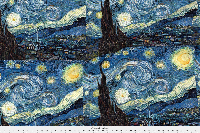 Van gogh fabric van gogh the starry night by studiofibonacci van
