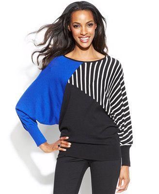 Alfani Striped Colorblock Dolman Sweater