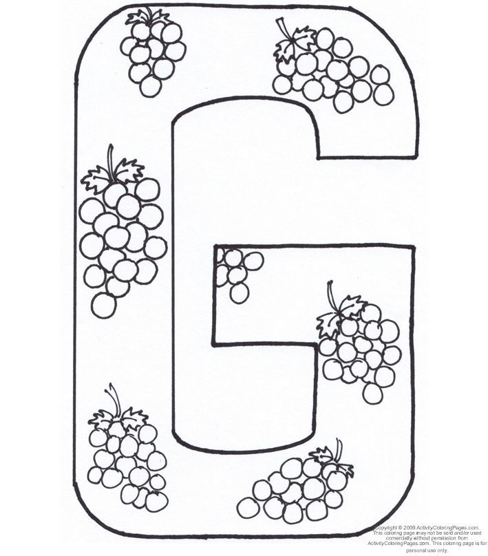 Letter G Coloring Page | Letters G H I | Pinterest